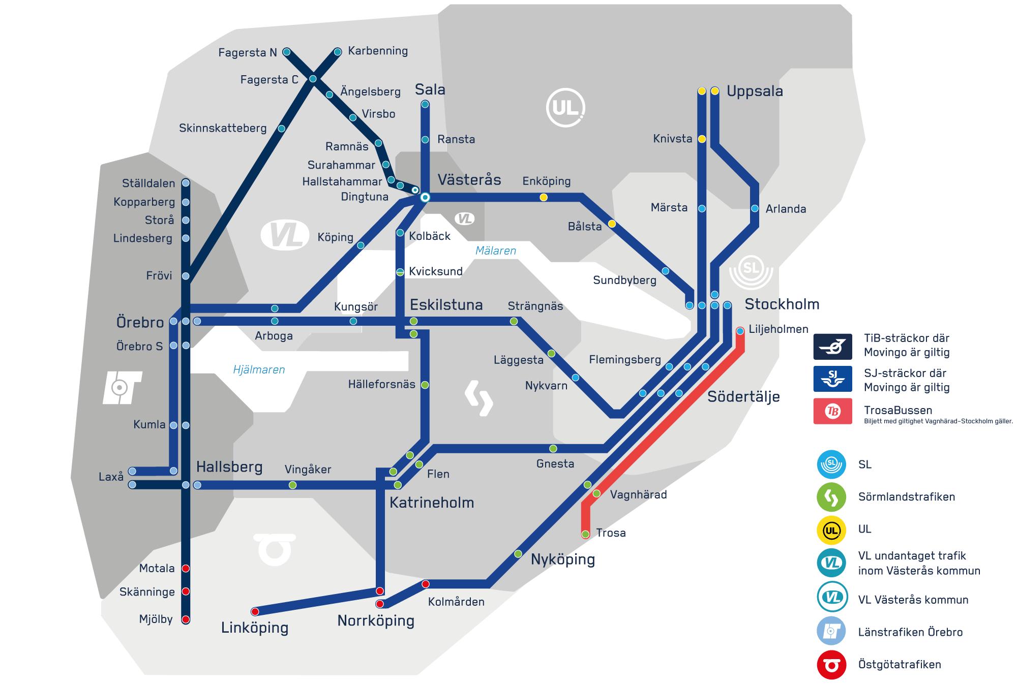 Karta över Movingo-sträckor